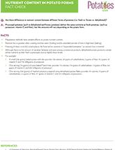 Potato Q&A Nutrient Content in Potato Forms